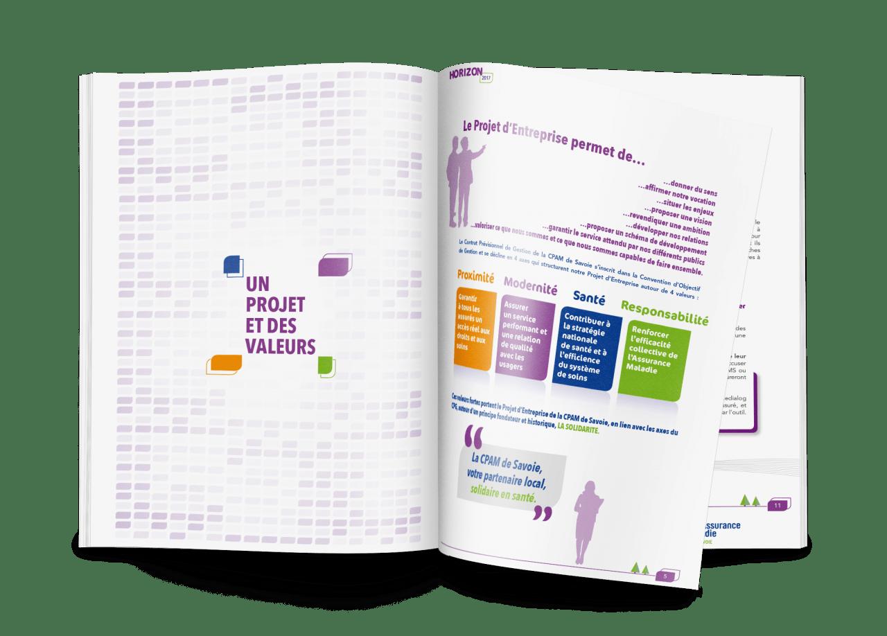 Mise en page et illustration magazine institionnel pour la caisse primaire d'assurance maladie