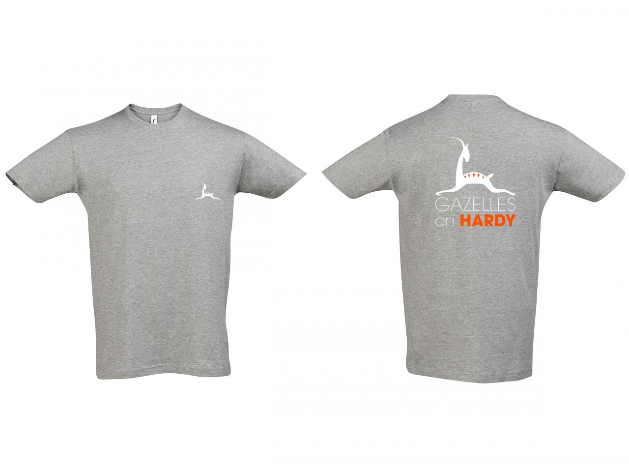 Tee-shirt association Gazelles en Hardy_Blanc Col rond