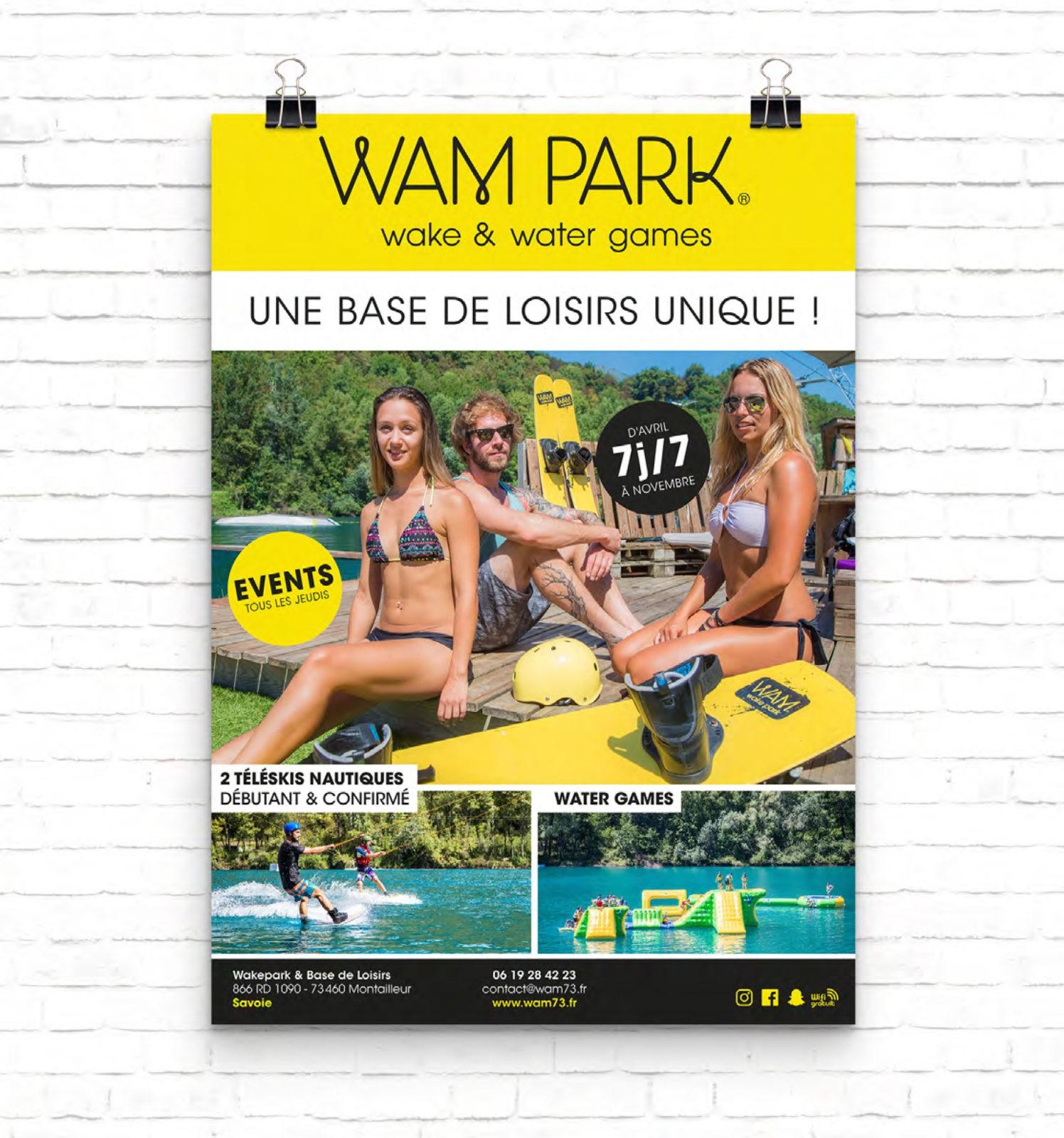 Création d'affiche et publicité 4X3 pour la base de loisir WAM PARK Savoie