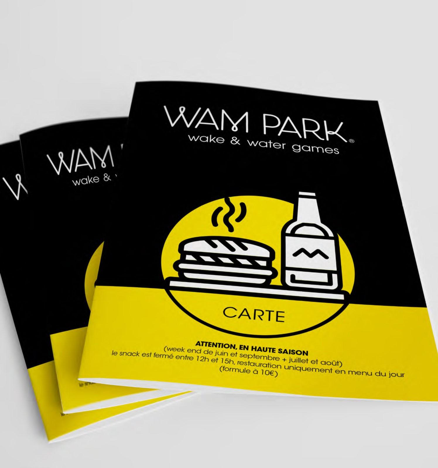 Création de menu et carte pour le Snack de la base de loisir WAM PARK Savoie