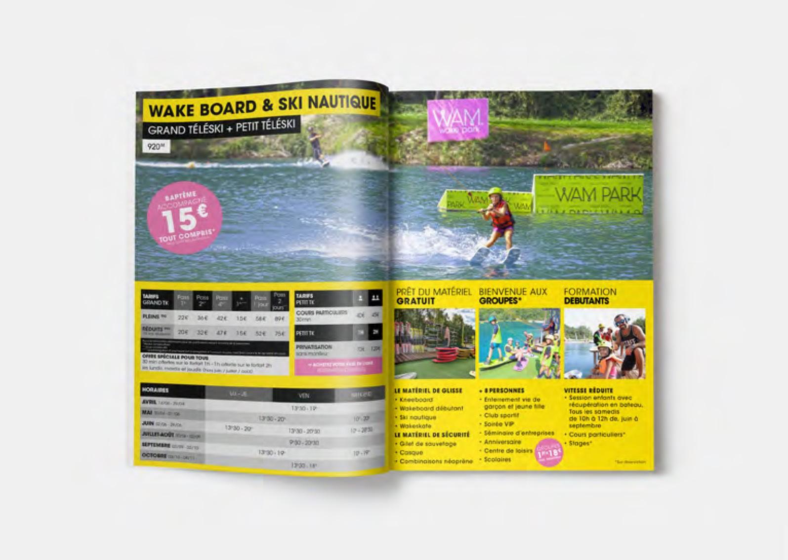 Création de flyer et brochure pour la base de loisir WAM PARK Savoie