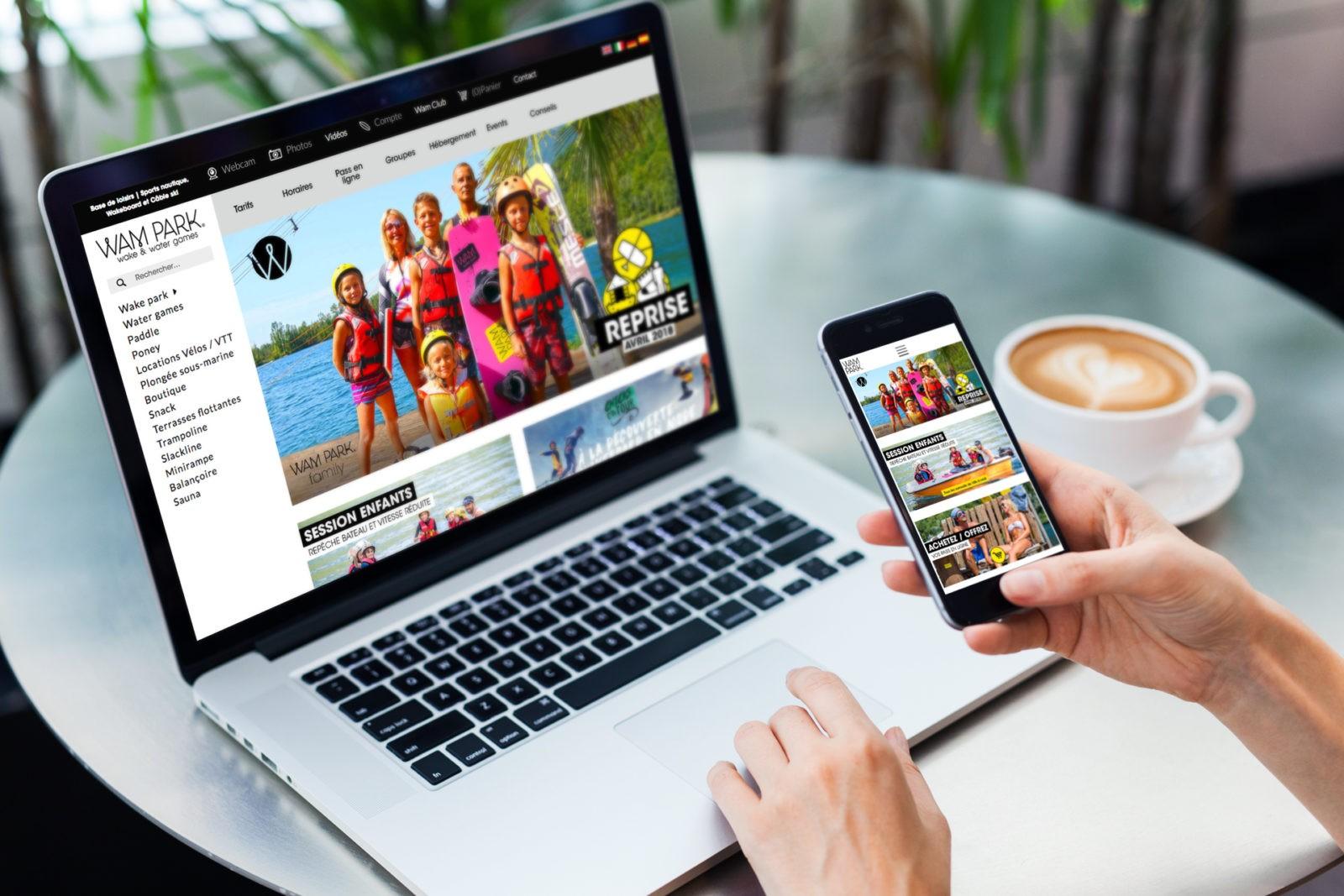 Création de site Web E commerce pour base de loisir wakepark en Savoie WAM PARK